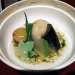 百合根饅頭と旬野菜炊き合わせ 磯海苔あん