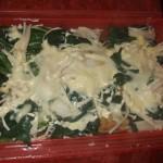 鯛とホタテとほうれん草のマヨネーズチーズ蒸し